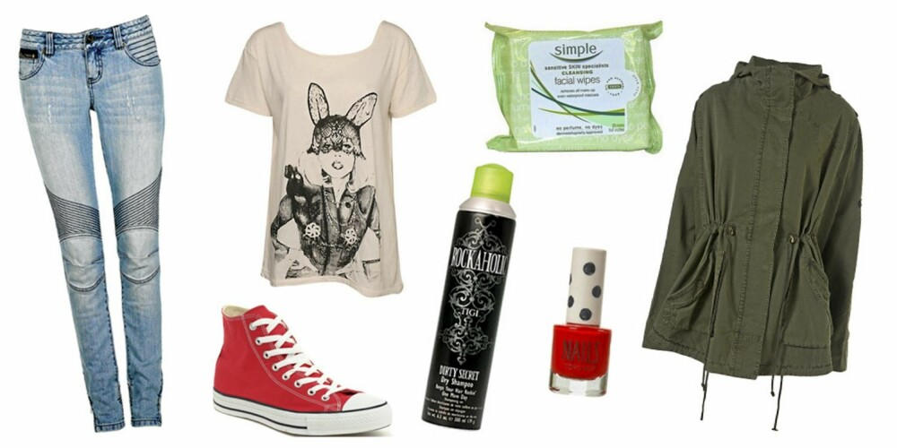 FRA VENSTRE: Bukse fra Cubus (kr 499), T-skjorte fra At Least (kr 299), sko fra Converse (kr 359), Simple Cleansing Wipes (kr 45), Tigi Rockaholic Dirty Secret Dry Shampoo (kr 149), Topshop neglelakk i fargen In the Red (kr 48), jakke fra Topshop (kr 533).