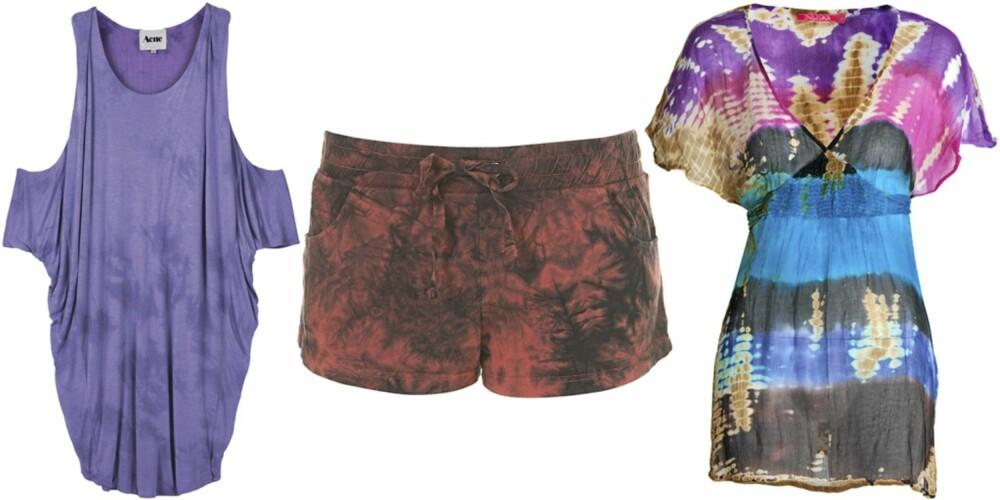 FRA VENSTRE: Kjole fra Acne (kr 1218), shorts fra Topshop (kr 79), kjole fra Indiska (kr 299).