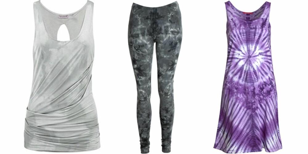 FRA VENSTE: Singlet fra Juicy Couture (kr 999), tights fra Indiska (kr 199), kjole fra Indiska (kr 149).
