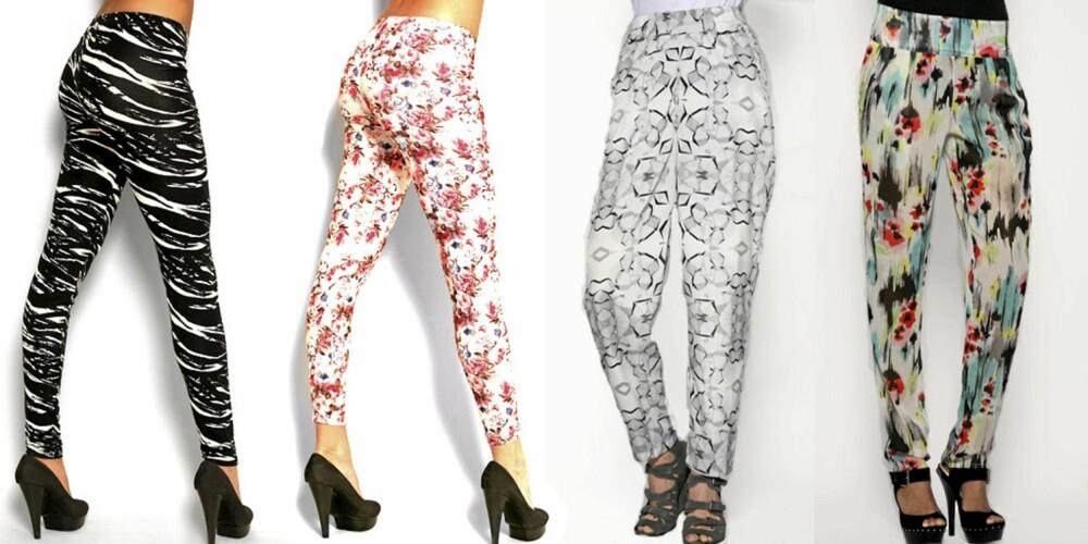 FRA VENSTRE: Stripete tights fra Modström (kr 349), blomstrete tights fra Nelly (kr 99), hvit haremsbukse fra Gestuz (kr 730), bukse med abstrakt mønster fra Asos (kr 292).