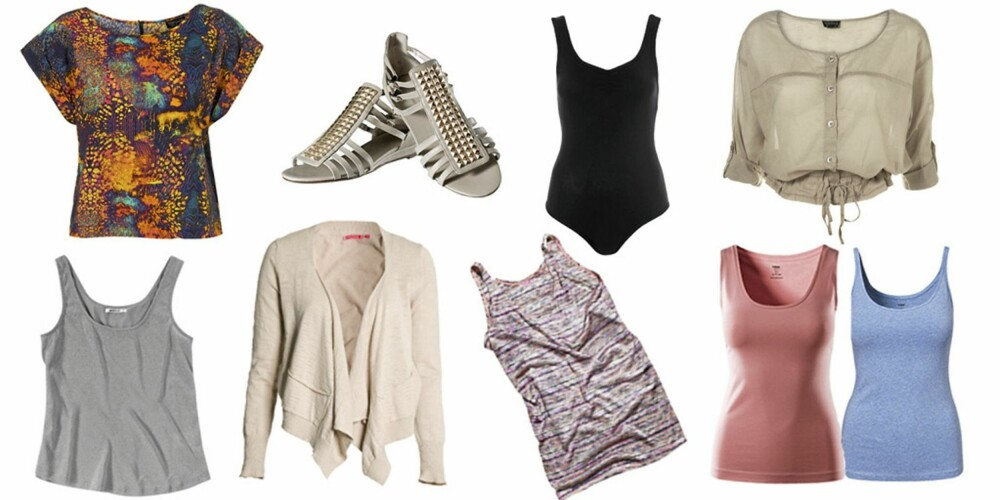 FRA VENSTRE: Mønstrete topp fra Topshop (kr 311), grå singlet fra Gina Tricot (kr 199), sandaler fra H&M (kr 199), offwhite cardigan fra Indiska (kr 299), svart body fra Topshop (kr 116), stripetet topp fra H&M (kr 99), beige bluse fra Topshop (kr 272), singleter i blåmelert og lys rosa (kr 49,50) begge fra H&M.
