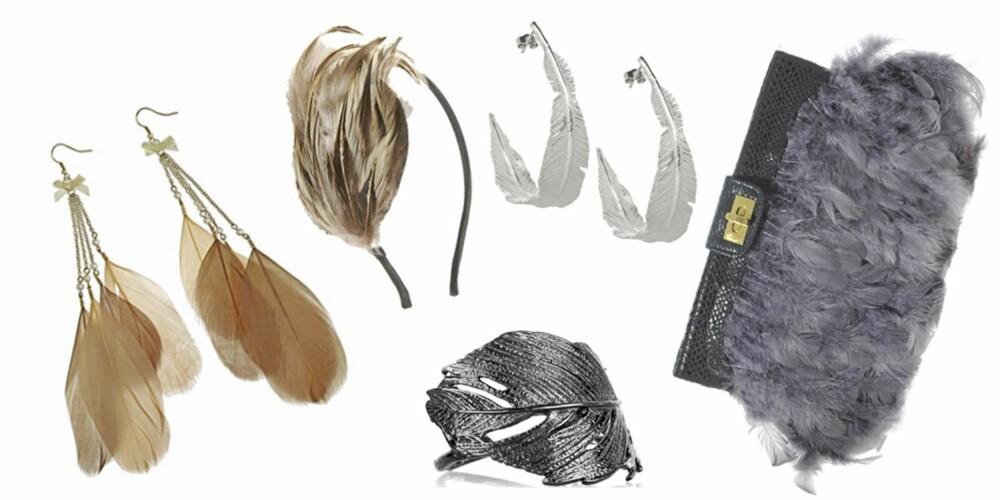 FRA VENSTRE: Øredobber fra Topshop (kr 97), hårbøyle fra Forever 21 (kr 37), øredobbeer fra Daisy Knights (kr 1197), ring fra Alex Monroe (kr 1876) og veske fra Asos (kr 243).