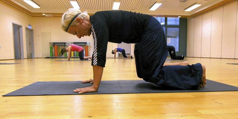 SUG INN: Bilde 4 - stå med håndflatene, knærne og tærne i gulvet.