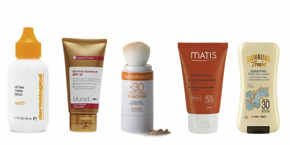 FRA VENSTRE: Dermalogica Oil Free Matte Block (kr 329), Murad Oil Free Sunblock (kr 387), bareMinerals Natural Sunscreen (kr 339), Matis Protection Cream (kr 439), Hawaiian Tropic Sensitive Face Sun Lotion (kr 115).