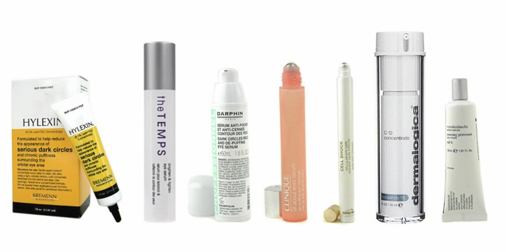 FRA VENSTRE: Bremen Research Labs Hylexin (kr 718), MD Formulations The Temps Brighten and Tighten Eye Serum (kr 339), Darphin Dark Circles Releif and De-Puffing Eye Massage (kr 283), Swissline Cell Shock Cellular Eye Care  (kr 510), Dermalogica C-12 Concentrate (kr 539), Korres Evening Primrose Eye Cream (kr 261).