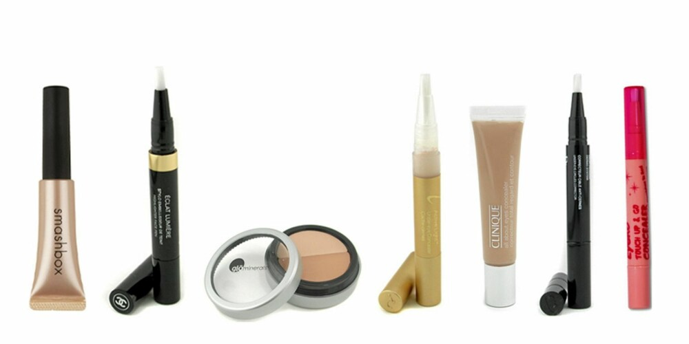 FRA VENSTRE: Smashbok Photo OP (kr 240), Chanel Eclat Lumiere Highlighter Face Pen (kr 319), Glominerals Gloconcealer Under Eye (kr 210), Jane Iredale Active Light Under Eye Concealer (kr 174), Clinique All About Eyes Concealer (kr 174), Christian Dior Homme Dermo System Under Eye Circle Corrector (kr 370), Eyeko Touch & Go Concealer (kr 110).