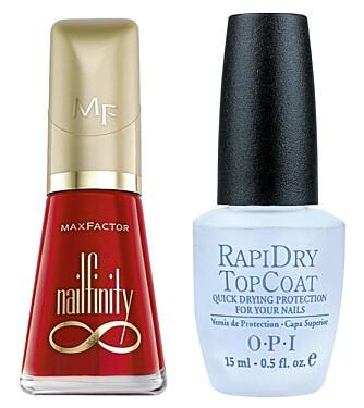 NEGLER: Mac Factor Nailfinity neglelakk (kr 95), OPI Rapid Dry Top Coat (kr 179).