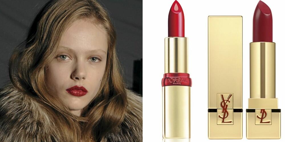 RØDE LEPPER: På catwalken til Just Cavalli, L'Oréal Color Riche Serum Bright Burgundy (kr 139), YSL Rouge Pur Couture No. 3 Rouge Saadi (kr 265).