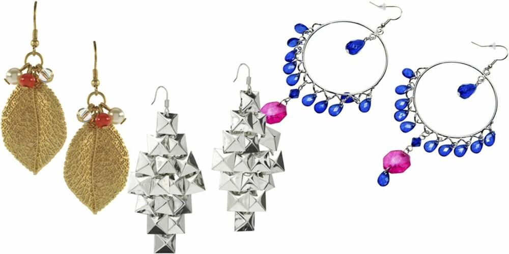 FRA VENSTRE: French Connection (kr 79), HM (kr 49), Glitter (kr 99).