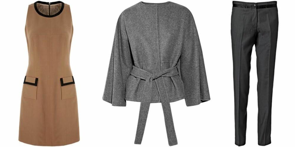 FRA VENSTRE: Kjole fra Next (kr 389), jakke fra Stella McCartney (kr 7322), bukser fra Malene Birger (kr 1399).