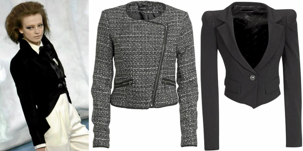 KORT PYNTEJAKKE: På catwalken til Chanel, jakke fra Ellos (kr 499) og Fornarina (kr 1799).