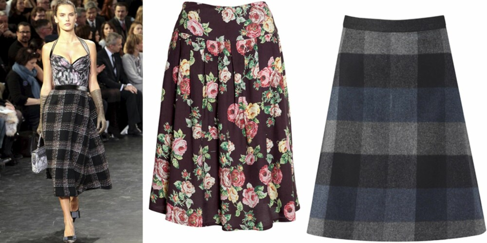 KNELANGT SKJØRT: På catwalken til Louis Vuitton, knelangt skjørt fra Indiska (kr 199) og Mette Møller (kr 1450).