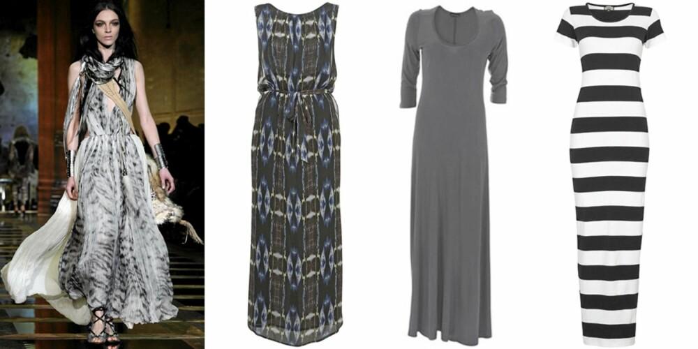 MAXIKJOLE: På catwalken til Roberto Cavalli, lange kjoler fra Topshop (kr 583), Warehouse (kr 272) og Cubus (kr 199).