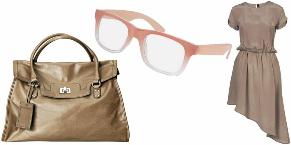 FRA VENSTRE: veske fra HM (kr 299), briller fra Asos (kr 100), kjole fra Topshop (kr 670).