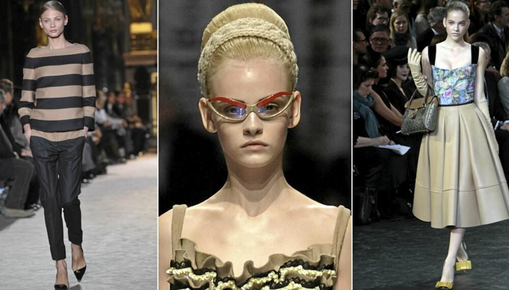 PÅ CATWALKEN: Minimalistisk hos Stella McCartney, ladylike retro hos Prada og Louis Vuitton.