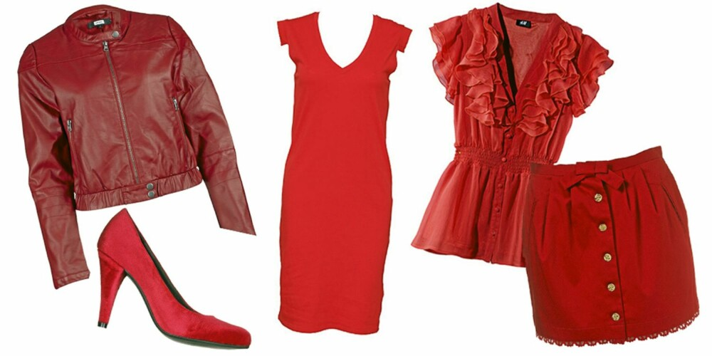 FRA VENSTRE: Jakke fra Bik Bok (kr 399), sko fra Din Sko (kr 299), kjole fra The Furies (kr 699), bluse fra H&M (kr 199), skjørt fra Topshop (kr 311).