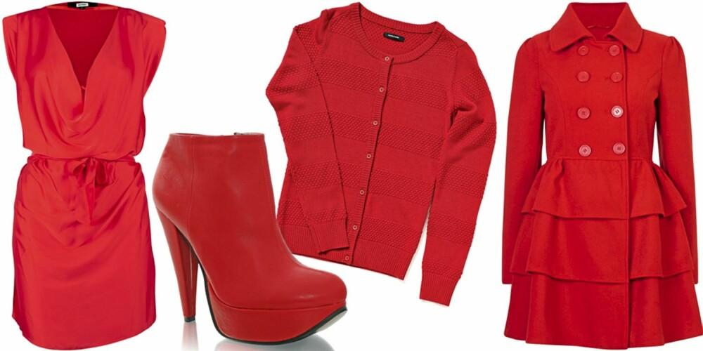 FRA VENSTRE: Kjole fra Bik Bok (kr 299), sko fra Nelly Shoes (kr 299), kardigan dra Samsøe Samsøe (kr 600), kåpe fra Bik Bok (kr 499).