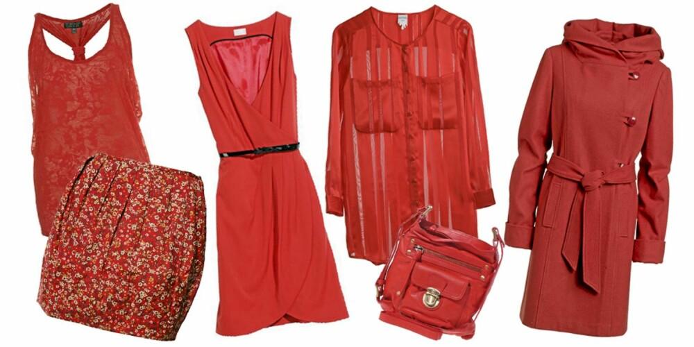 FRA VENSTRE: Topp fra Topshop (kr 175), skjørt fra Rare (kr 299), kjole fra H&M (kr 299), bluse fra Monki (kr 280), veske fra Oasis (kr 370), kåpe fra Ellos (kr 899).