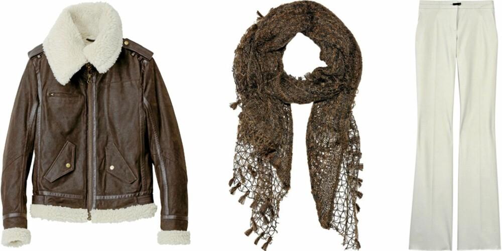 FRA VENSTRE: Pilotjakke med fôr fra HM (kr 1999), mohairskjerf fra Missoni (kr 1560), woolblend bukse fra Gucci (kr 5700).