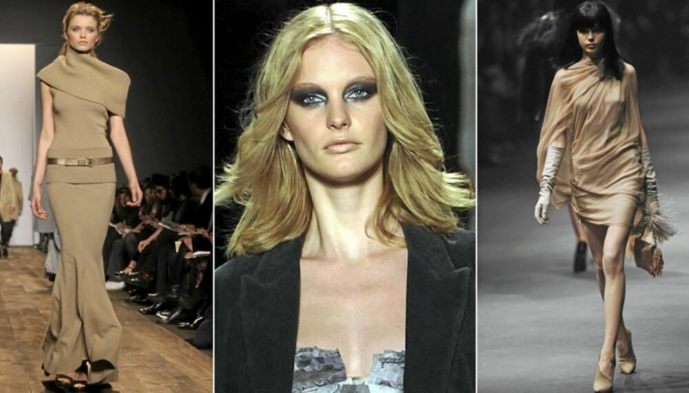 PÅ CATWALKEN: Kamelfarger hos Michael Kors, lekker makup hos Diane Von Furstenberg og ladylike kjole hos Lanvin.