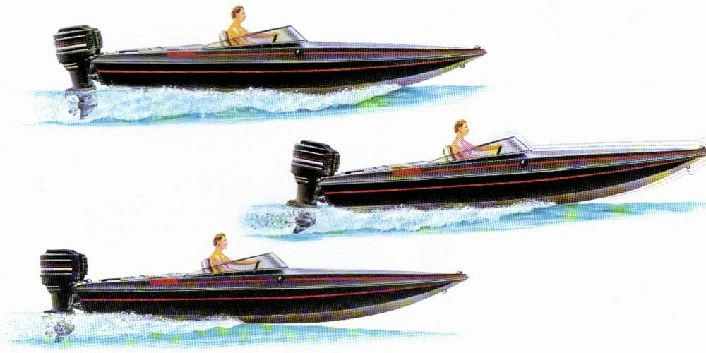 TRIM RIKTIG: Hvis motoren er trimmet før mye inn (øverst), vil båten dytte mye vann foran seg. Trimmer du derimot for langt ut, vil båten begynne å galoppere (midten).