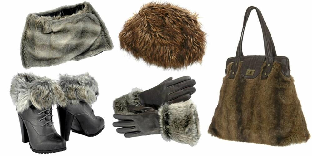 FRA VENSTRE: Sko med pels (kr 449), pelskrage fra Ellos (kr 199), skinnhansker fra Ellos (kr 299), hatt fra Nelly (kr 189), veske med pels  fra Warehouse (kr 473).