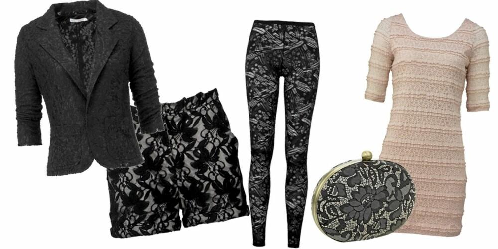 FRA VENSTRE: Blazer fra Only (kr 299), shorts fra Vila (kr 299), tights fra La Redoute (kr 149), veske fra Accessorize (kr 289), kjole fra Gina Tricot (kr 249).