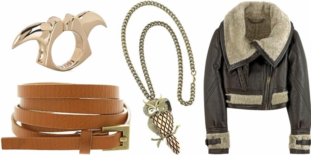 FRA VENSTRE: Belte fra Asos (kr 96), 22 karat gullbelagt ring fra Dominic Jones (kr 4698), aviator skinnjakke med saueullsfôr fra Burberry Prorsum (kr 16.500).