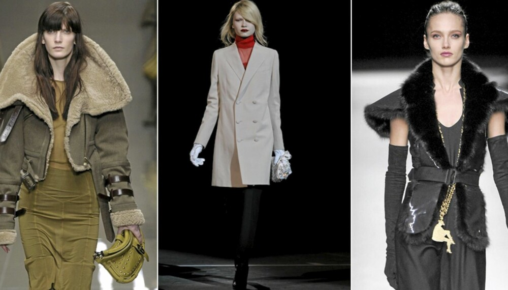 HØSTFAVORITTER: Fôret pilotskinnjakke fra Burberry Prorsum, raffinert minimalisme hos Givenchy og lange smykker hos YSL.