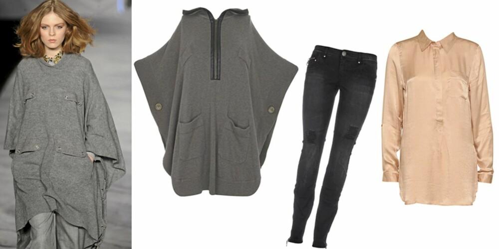 FRA VENSTRE: Grå cape med hette fra  Warehouse (kr 673), svart jeans fra Only (kr 499,95), lang bluse fra Vero Moda (kr 399).