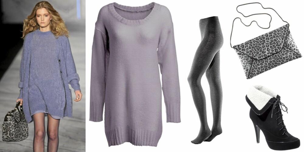 FRA VENSTRE: Lang genser fra Ellos (kr 149), grå strømpebukse (kr 79,50), grå leopardveske (kr 149) begge fra H&M, sorte sko fra Asos (kr 528).