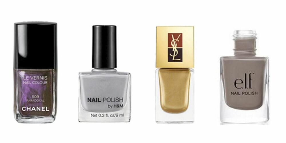 FRA VENSTRE: Chanel 509 Paradoxal (kr 210), HogM Miss Stoneheart (kr 39) YSL Belle De Nuit (kr 255 for to stk) og E.L.F Smoky Brown (kr 17).