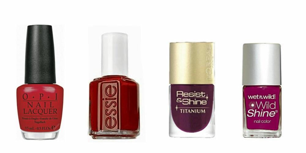 FRA VENSTRE: O.P.I. Color So Hot It Berns (kr 160) Essie Red Noveau (kr 149), L'Oréal Royal Plum (kr115 ) og Wet'N Wild Plomme (kr 39).