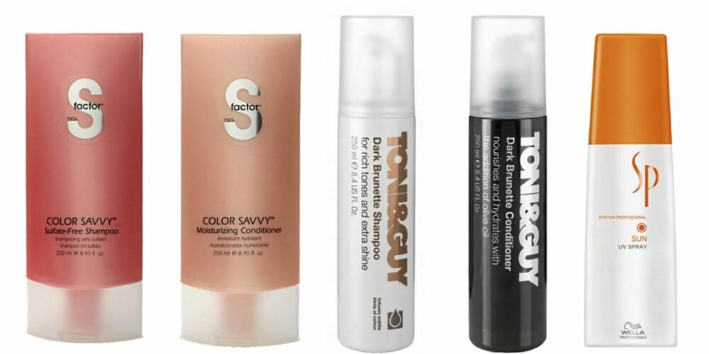 FRA VENSTRE: Tigi S Factor Color Savvy Shampoo (kr 130), Tigi S Factor Color Savvy Conditioner (kr 140), Toni og Guy Bruette Shampoo (kr 127), Toni og Guy Brunette Conditioner (kr 127), SP Sun UV Spray (kr 249).