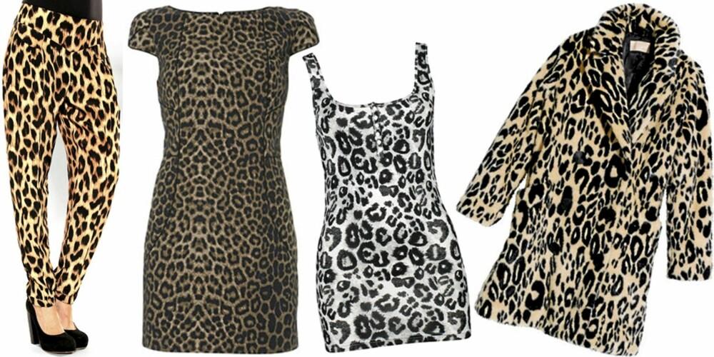 FRA VENSTRE: Bukse fra Motel (kr 599), kjole fra Warehouse (kr 535), singlet fra Bik Bok (kr 129), kåpe fra H&M (kr 999).