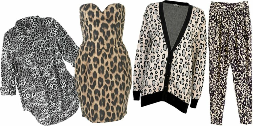 FRA VENSTRE: Skjorte fra Gina Tricot (kr 199), kjole fra Topshop (kr 280), kardigan fra Bik Bok (kr 249), bukse fra H&M (kr 399).