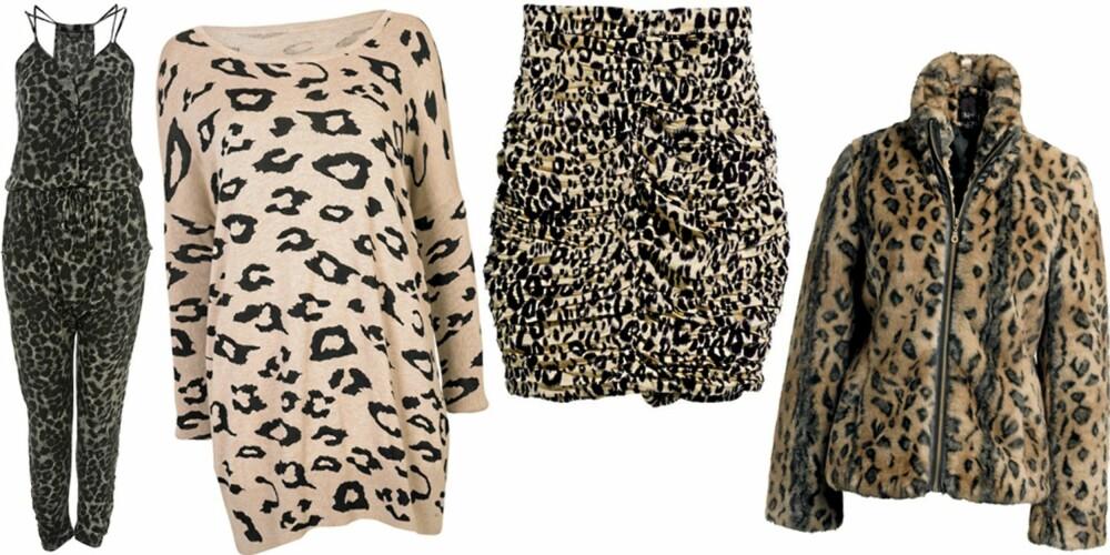 FRA VENSTRE: Buksedress fra Topshop (kr 389), genser fra Cubus (kr 299), skjørt fra H&M (kr 249), jakke fra Ellos (kr 599).