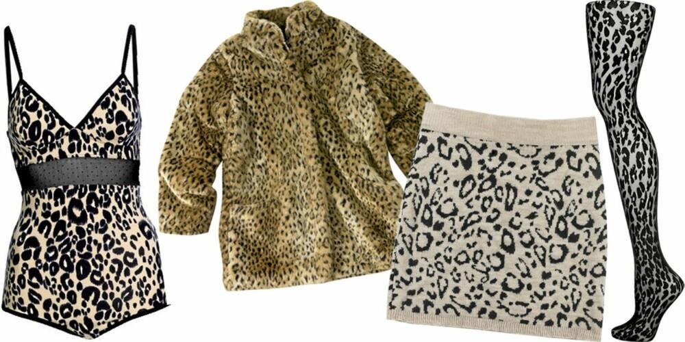 FRA VENSTRE: Body fra H&M (kr 199), jakke fra Gina Tricot (kr 599), skjørt fra Gina Tricot (kr 149), strømpebukser fra Wolford (kr 439).