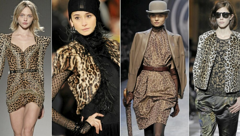 PÅ CATWALKEN: Balmain, Ralph Lauren, Hermès og Dries Van Noten har alle brukt leopardmønsteret denne sesongen.