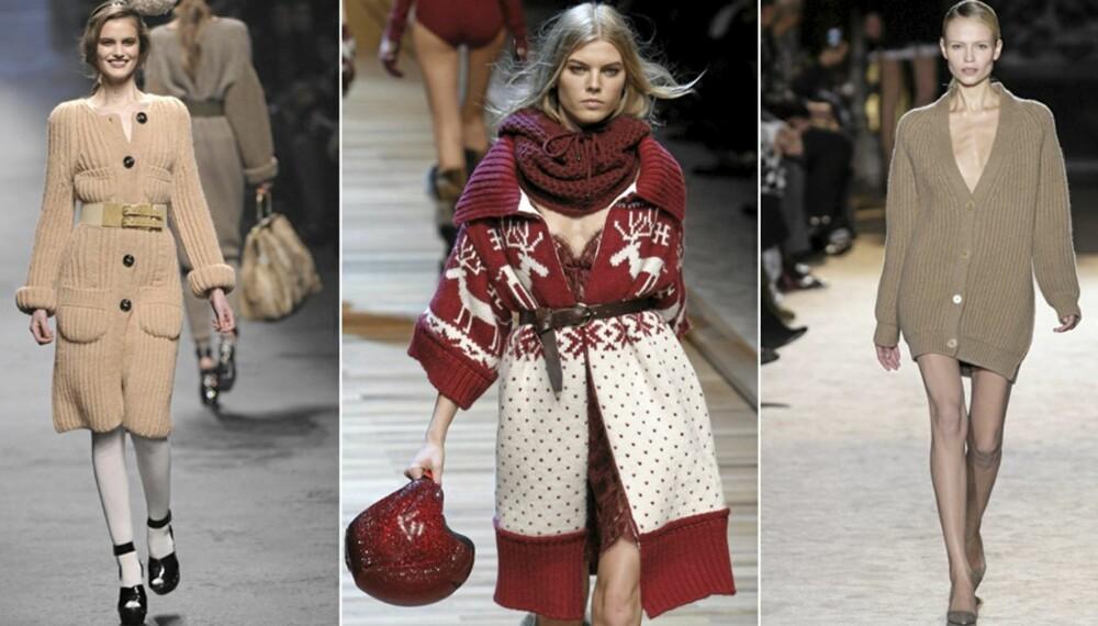 PÅ CATWALKEN: Sonia Rykiel, DG g Stella McCartney viste alle frem den lange strikkejakken på catwalken.