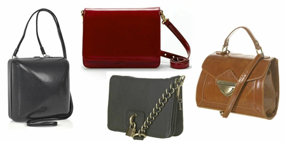 FRA VENSTRE: Maison Martin Margiela (kr 7750), rød veske fra Zara (kr 559), Topshop (kr235) og brun veske fra Topshop (kr 300)