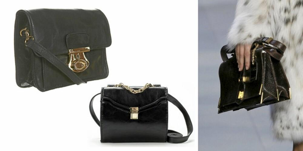 FENDIKOPI: Om du ønsker en rimeligere variant av vesken fra Fendi, kan du velge mellom en fra Topshop (t.v)(kr 330) og fra Zara (kr 299).