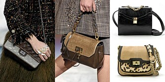 ELEGANTE VESKER: Sats på enkel detaljer på veskene i høst, som fra visninegne til Chanel og Marc Jacobs. Øverst t.h. veske fra Zara (kr 299) og under fra Zara (kr 559)