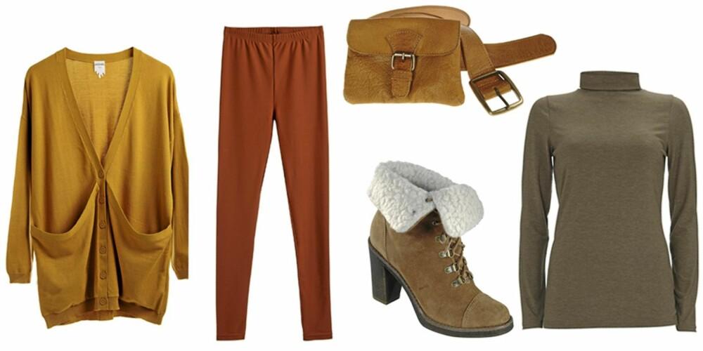 FRA VENSTRE: Karrifarget cardigan (kr 300) og kanelfarget tights (kr 180), begge fra Monki. Beltevekse fra Only (kr 299), sko fra Fresh Spirit (kr 799) og pologenser fra Warehouse (kr 170).