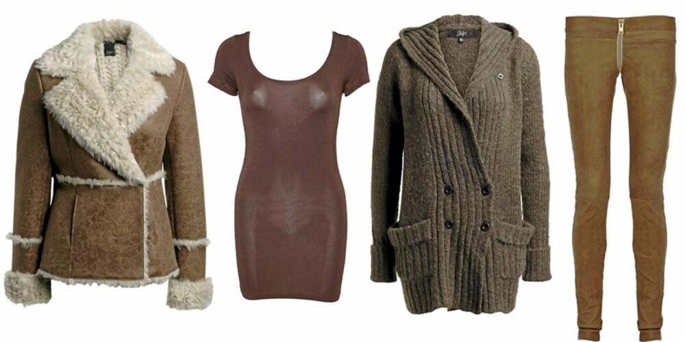 FRA VENSTRE: Jakke fra Ellos (kr 599), lang t-skjorte fra M by M (kr 249), cardigan fra Ellos (kr 349), leggings i skinn fra Bess (kr 11190).