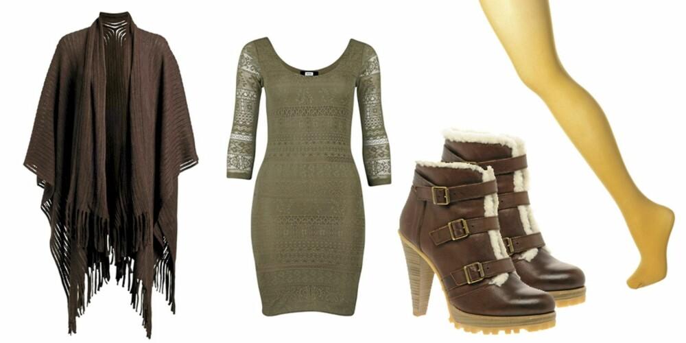 FRA VENSTRE: Sjal fra Ellos (kr 299), olivenfarget kjole fra Bik Bok (kr 249), sko fra Asos (kr 812), karrifarget strømpebukse fra Topshop (kr 38).