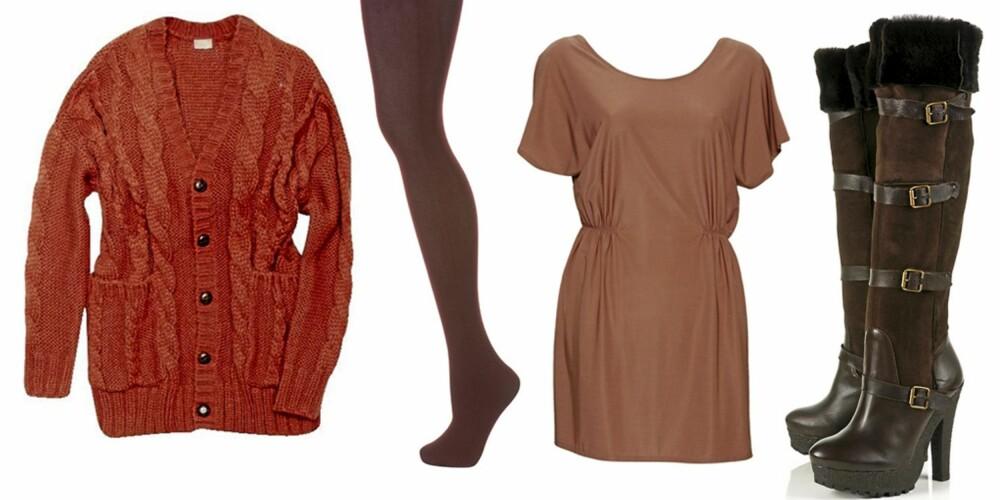 FRA VENSTRE: Cardigan i cayennepepperfarge fra H&M (sek 499), strømpebukse fra Topshop (kr 75), tunika fra Jane Blush (kr 249) og støvletter fra Topshop (kr 1279).