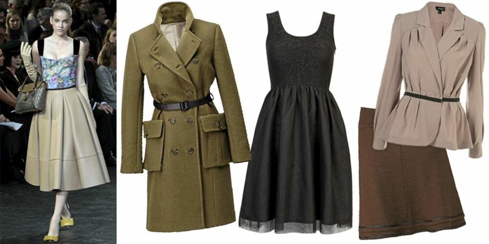 FRA VENSTRE: Louis Vuitton, kåpe fra H&M (kr 999), kjole fra Cubus (kr 299), blazer fra Topshop ( kr 604), skjørt fra Mette Møller (kr 1350).