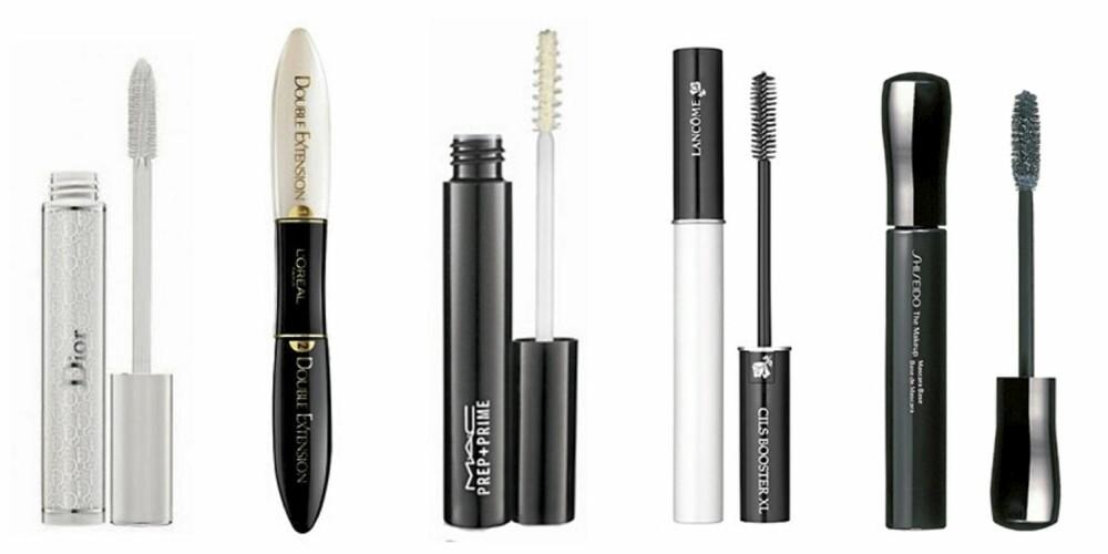 MASCARABSER: Dior Diorshow Maximizer Lash Plumping Serum (kr 270), L'Oréal Double Extension mascara og base (kr 175) MAC Prep+ Prime mascara base (kr 145), Lancôme Cils Booster XL (kr 275) og Shiseido The Makeup Mascara Base (ca kr 240).