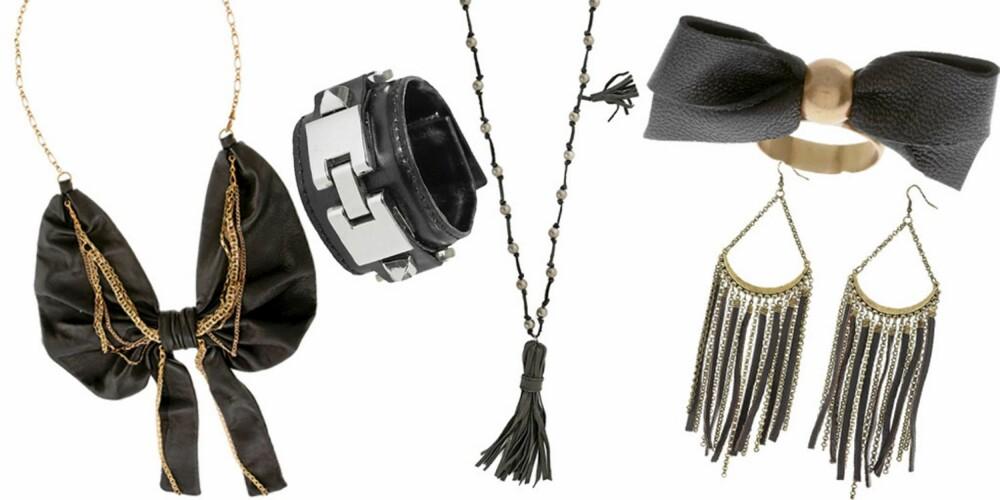 FRA VENSTRE: Kjede fra Bing Bang Timo Weilang (1569), armbånd fra Bik Bok (kr 129), kjede fra Vintage By Fe (kr549), ring fra Bing Bang Timo Weilang (kr 640), øredobber fra Topshop (kr 116).